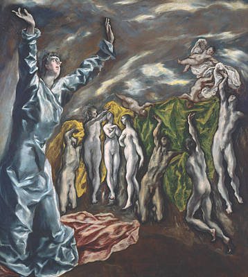 Mannerism Painting - The Vision Of Saint John by El Greco