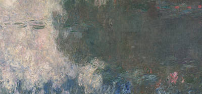 Water And Plants Painting - The Waterlilies  The Clouds by Claude Monet