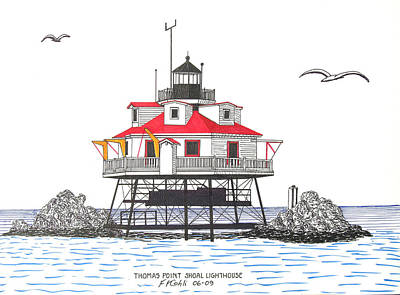Seacoast Drawing - Thomas Point Shoal Lighthouse by Frederic Kohli
