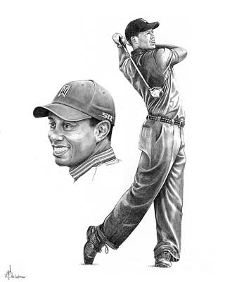 Celebrity Drawing - Tiger Woods by Murphy Elliott