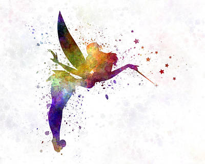 Tinkerbell In Watercolor Print by Pablo Romero