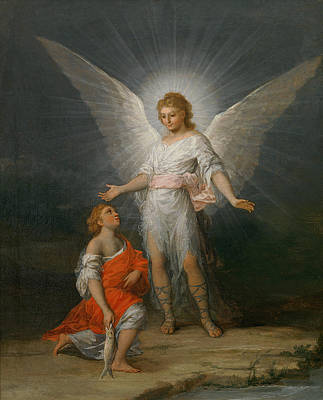 Bible Painting - Tobias And The Angel by Francisco Goya