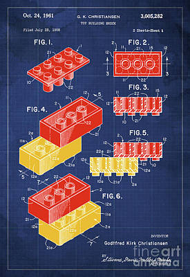 Toy Building Brick Patent Year 1958 Blueprint Print by Pablo Franchi