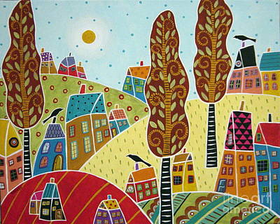 Folk Art Painting - Trees Houses And Birds by Karla Gerard