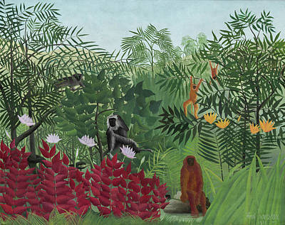 Pseudo Painting - Tropical Forest With Monkeys by Henri Rousseau