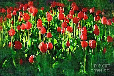 Beauty In Nature Painting - Tulips by Hristo Hristov