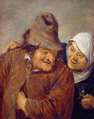 Couple Painting - Two Peasants With A Glass Of Wine by David Teniers the Younger