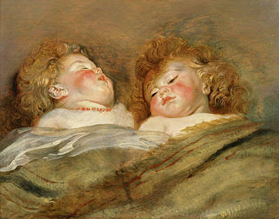 Bed Painting - Two Sleeping Children by Peter Paul Rubens