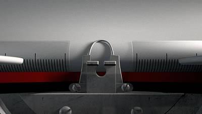 Macro Digital Art - Typewriter With Paper by Allan Swart