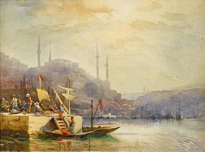 Bosphorus Painting - Unloading Boats On The Bosphorus by MotionAge Designs