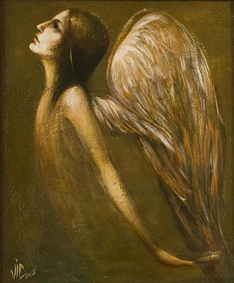 Hands Of Love Drawing - Uriel Guardian Angel by Vali Irina Ciobanu