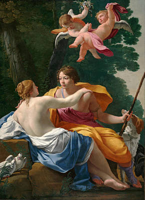 Simon Vouet Painting - Venus And Adonis by Simon Vouet