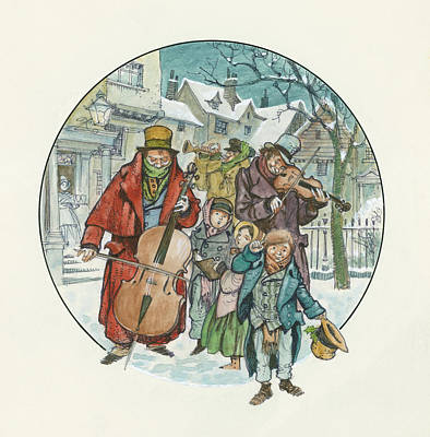Violin Drawing - Victorian Christmas Scene by Peter Jackson