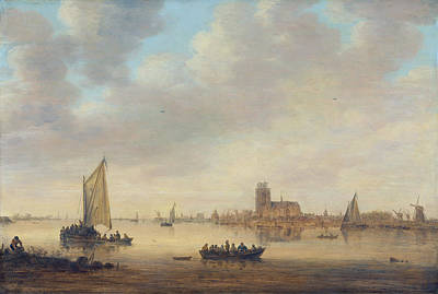 Townscape Painting - View Of Dordrecht From The Dordtse Kil by Jan van Goyen
