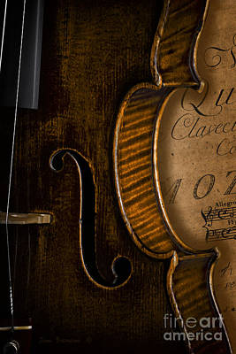 Vintage Violin With Antique Mozart Sheet Music Print by John Stephens