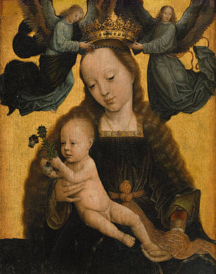 David Painting - Virgin And Child With Angels by Gerard David