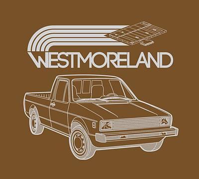 Vw Rabbit Pickup - Westmoreland Theme - Black Print by Ed Jackson