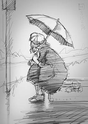Umbrella Drawing - Waiting by H James Hoff