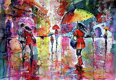 Umbrella Painting - Walk In Rain by Kovacs Anna Brigitta