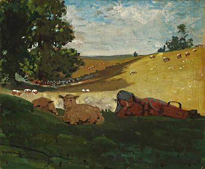 Warm Afternoon. Shepherdess Print by Winslow Homer