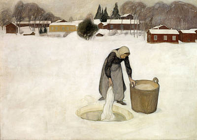 Pekka Halonen Painting - Washing On The Ice by Pekka Halonen