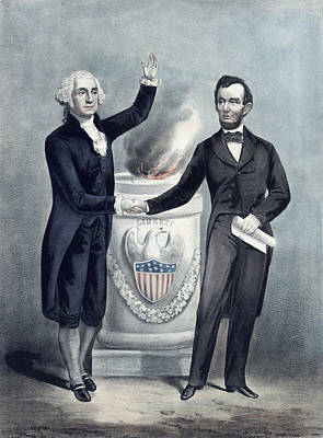 George Washington Mixed Media - Washington And Lincoln by War Is Hell Store