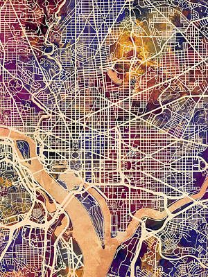 Washington Digital Art - Washington Dc Street Map by Michael Tompsett
