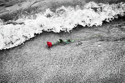 Break Photograph - Waves Washing Away A Red Rose From The Beach. Color Against Black And White. Love by Michal Bednarek