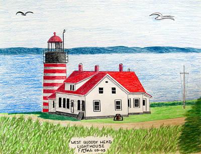 West Quoddy Head Lighthouse Print by Frederic Kohli