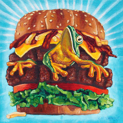 Cheeseburger Painting - What's In Your Burger? by John Lautermilch