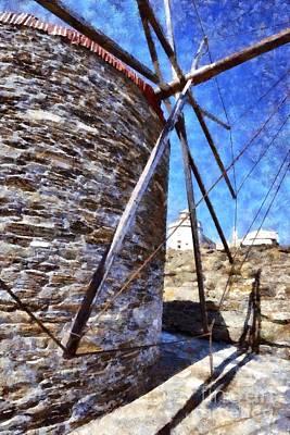 Windmills Painting - Windmill by George Atsametakis