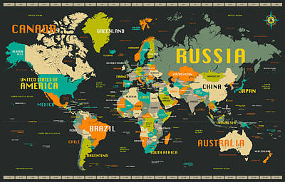 World Map Print by Jazzberry Blue