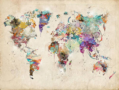 Colourfull Painting - World Map Watercolor by Bri B