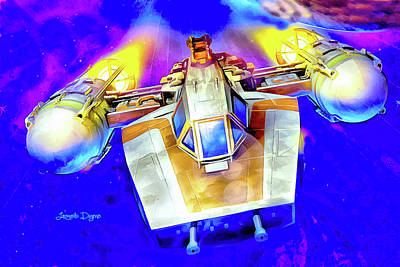 Battle Painting - Y-wing Fighter - Watercolor Style by Leonardo Digenio
