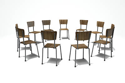 Advice Digital Art - Group Therapy Chairs by Allan Swart