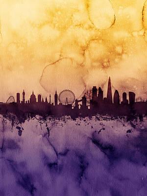 London Skyline Digital Art - London England Skyline by Michael Tompsett