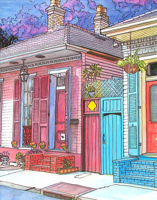 Mardi Drawing - 20  Violet Clouds In A French Quarter Sky by John Boles