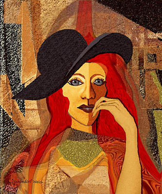 200 - Woman With Black Hat .... Print by Irmgard Schoendorf Welch