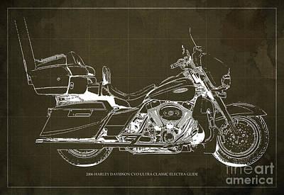 Police Cars Digital Art - 2006 Harley Davidson Cvo Ultra Classic Electra Glide Blueprint Brown Background by Pablo Franchi
