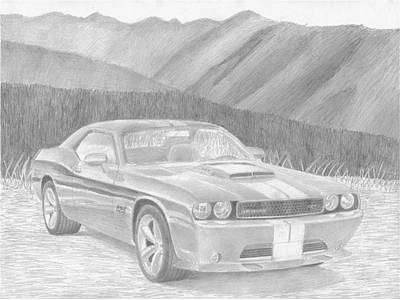 2011 Dodge Challenger Srt8 Classic Car Drawing Print by Stephen Rooks