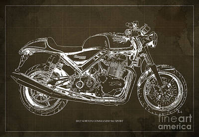 Personalized Painting - 2012 Norton Commando 961 Sport Blueprint, Classic Motorcycle, Brown Background by Pablo Franchi