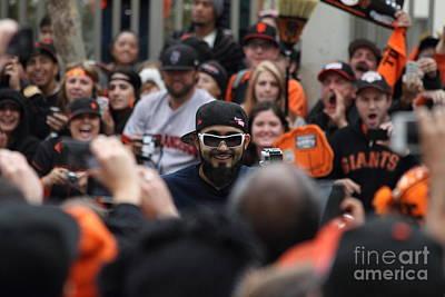 2012 San Francisco Giants World Series Champions Parade - Sergio Romo - Dpp0007 Print by Wingsdomain Art and Photography