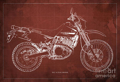 2012 Suzuki Dr650se Motorcycle Blueprint Red Background Awesome Gift For Men Print by Pablo Franchi