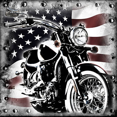 Red White And Blue Mixed Media - 2013 Kawasaki Vulcan Classic Freedom by Melissa Smith