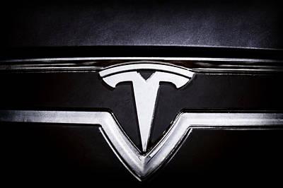 Tesla Photograph - 2013 Tesla Model S Emblem -0122ac1 by Jill Reger