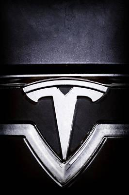 Tesla Photograph - 2013 Tesla Model S Emblem -0122ac2 by Jill Reger