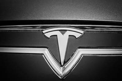 Tesla Photograph - 2013 Tesla Model S Emblem -0122bw1 by Jill Reger