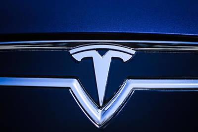 Tesla Photograph - 2013 Tesla Model S Emblem -0122c1 by Jill Reger