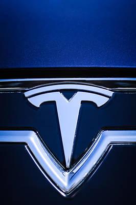 Tesla Photograph - 2013 Tesla Model S Emblem -0122c2 by Jill Reger