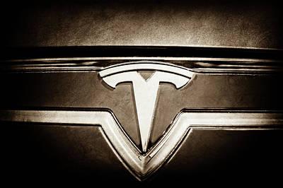 Tesla Photograph - 2013 Tesla Model S Emblem -0122s1 by Jill Reger